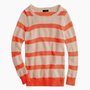 J. Crew Twisted Stitch Sweater Neon Stripe